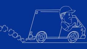 Homem de entrega que conduz animação de Van Drawing a 2D video estoque