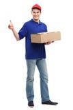 Homem de entrega que mostra os polegares acima Imagem de Stock