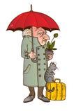 Homem de espera com gato Imagens de Stock
