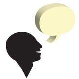 Homem de fala com a uma bolha isolada no branco Imagem de Stock Royalty Free