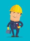 Homem de funcionamento duro que guarda a ilustração da caixa de ferramentas ilustração royalty free