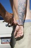 Homem de Handcuffing Tattooed Young do oficial Imagens de Stock Royalty Free