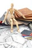 Homem de madeira, materiais equipando, modelos Foto de Stock Royalty Free