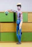 Homem de madeira pintado à mão Imagens de Stock