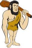 Homem de Neanderthal do homem das cavernas que guarda desenhos animados do clube Imagens de Stock