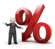 homem de negócio 3d com sinal de por cento vermelho grande Fotografia de Stock