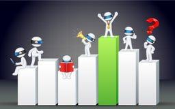 homem de negócio 3d no gráfico de barra Fotografia de Stock Royalty Free