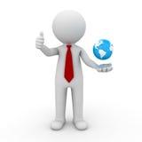 homem de negócio 3d que mostra os polegares acima com o globo em sua mão Fotografia de Stock Royalty Free