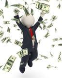 homem de negócio 3d que salta para a vitória - chuva do dinheiro ilustração royalty free