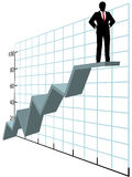 Homem de negócio acima da carta de crescimento superior da companhia Fotos de Stock Royalty Free