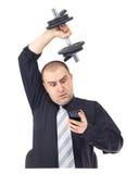 Homem de negócio adulto que faz a aptidão no trabalho Imagem de Stock