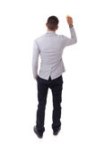 Homem de negócio afro-americano novo que guarda uma esponja que limpa a fotos de stock