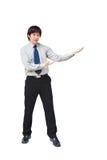 Homem de negócio asiático que dá a apresentação imagens de stock royalty free