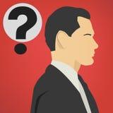 Homem de negócio bem sucedido novo com um ícone do vetor do ponto de interrogação Fotos de Stock Royalty Free
