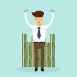 Homem de negócio bem sucedido que está a uma pilha de dinheiro enorme Cena do caráter do negócio Ilustração do vetor ilustração royalty free