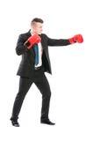 Homem de negócio bem sucedido que luta como um pugilista fotografia de stock