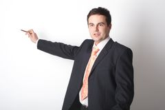 Homem de negócio branco que aponta no espaço em branco imagens de stock