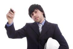 Homem de negócio, cheio de ideias novos Imagem de Stock