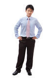 Homem de negócio cheio do comprimento com sorriso confiável Fotos de Stock Royalty Free