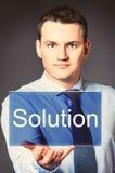 Homem de negócio com ícone Imagens de Stock Royalty Free