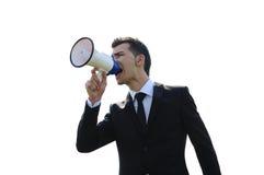 Homem de negócio com altifalante Fotografia de Stock