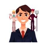 Homem de negócio com anjo e diabos, conceito da tomada de decisão ilustração royalty free