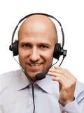 Homem de negócio com auscultadores Foto de Stock Royalty Free