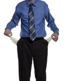 Homem de negócio com bolsos vazios Fotos de Stock Royalty Free