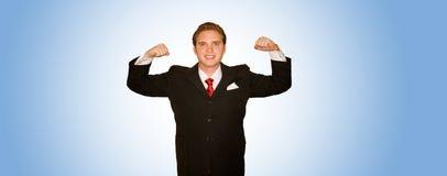 Homem de negócio com braços acima Fotos de Stock Royalty Free