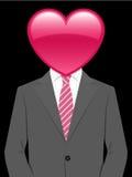 Homem de negócio com cabeça do coração ilustração do vetor