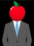 Homem de negócio com cabeça suculenta da maçã ilustração do vetor