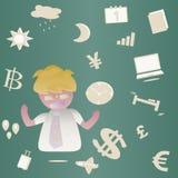 Homem de negócio com camisa branca, vetor dos desenhos animados Imagem de Stock Royalty Free