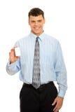 Homem de negócio com cartão em branco Fotos de Stock
