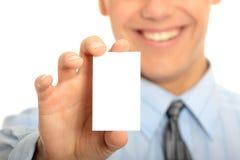 Homem de negócio com cartão em branco Foto de Stock Royalty Free