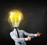 Homem de negócio com conceito da cabeça da ampola Imagem de Stock Royalty Free