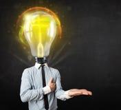 Homem de negócio com conceito da cabeça da ampola Foto de Stock Royalty Free