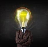 Homem de negócio com conceito da cabeça da ampola Imagens de Stock Royalty Free