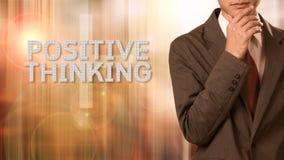 Homem de negócio com conceito do pensamento positivo imagem de stock