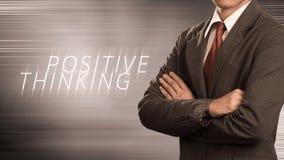 Homem de negócio com conceito do pensamento positivo foto de stock royalty free
