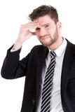 Homem de negócio com dor de cabeça imagens de stock