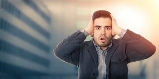 Homem de negócio com expressão da surpresa Fotos de Stock