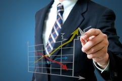 Homem de negócio com gráfico Imagem de Stock