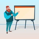 Homem de negócio com gráfico financeiro da apresentação da sessão de reflexão de Flip Chart Seminar Training Conference ilustração stock