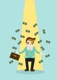 Homem de negócio com ilustração do dinheiro Imagens de Stock Royalty Free
