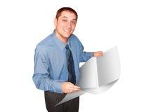Homem de negócio com jornal Fotos de Stock Royalty Free