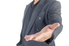 Homem de negócio com mãos abertas no branco Fotos de Stock