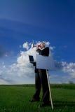 Homem de negócio com megafone imagens de stock royalty free