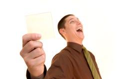 Homem de negócio com memorando em branco Fotografia de Stock
