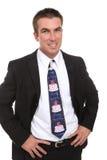 Homem de negócio com o laço do feliz aniversario Foto de Stock Royalty Free