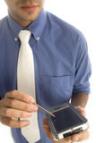 Homem de negócio com PDA fotos de stock